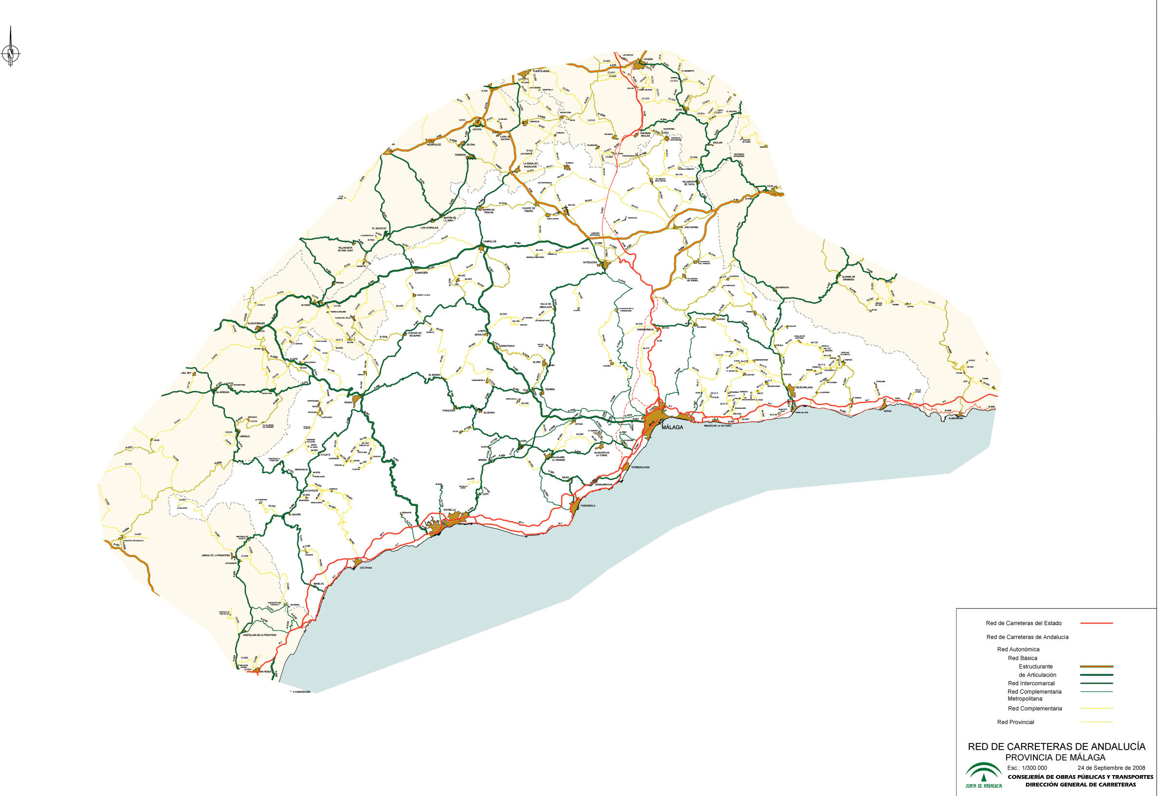 Archivo Mapa De Carreteras De Malaga Jpg Wikivia