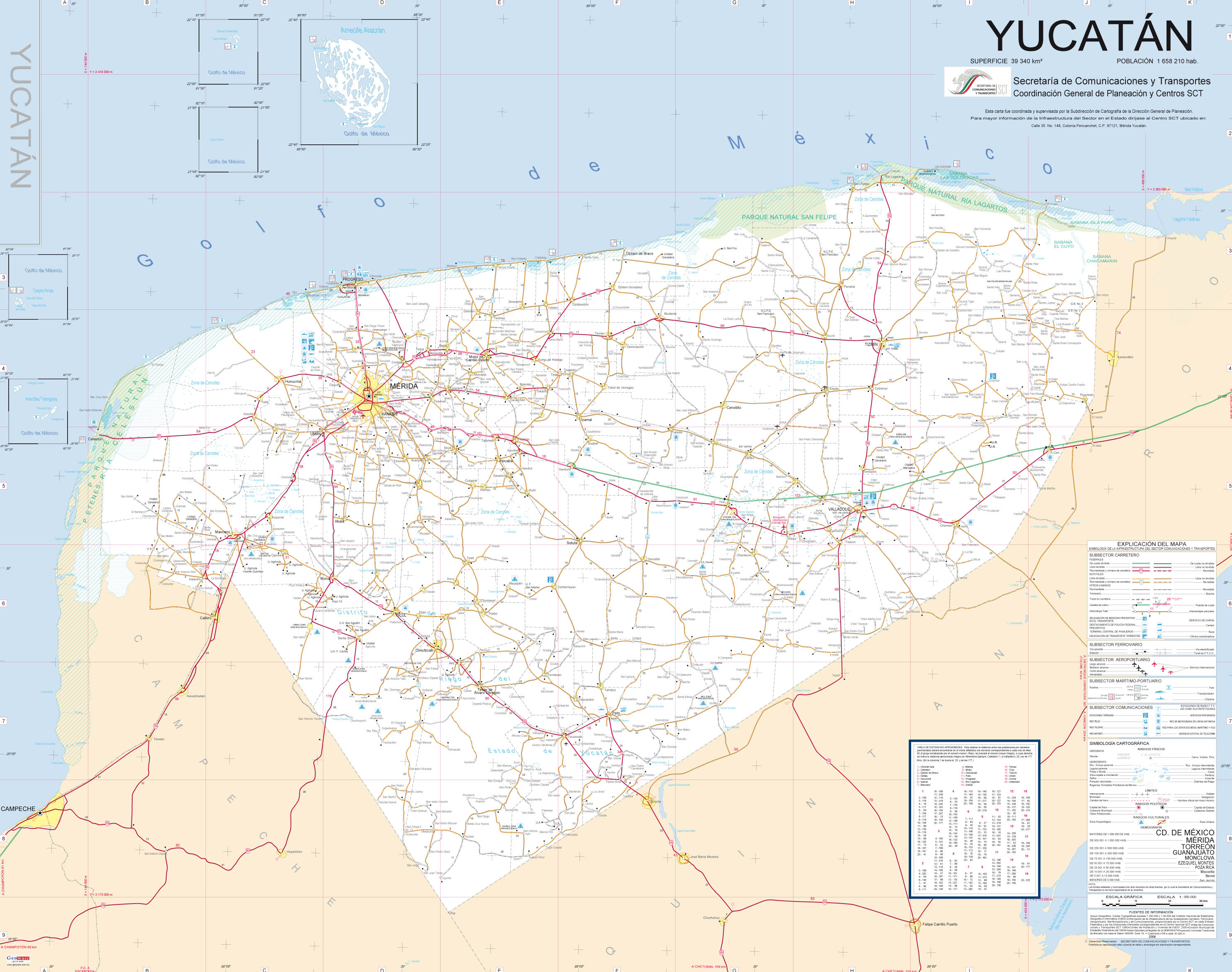 Mapa de carreteras de Yucatn  Wikivia