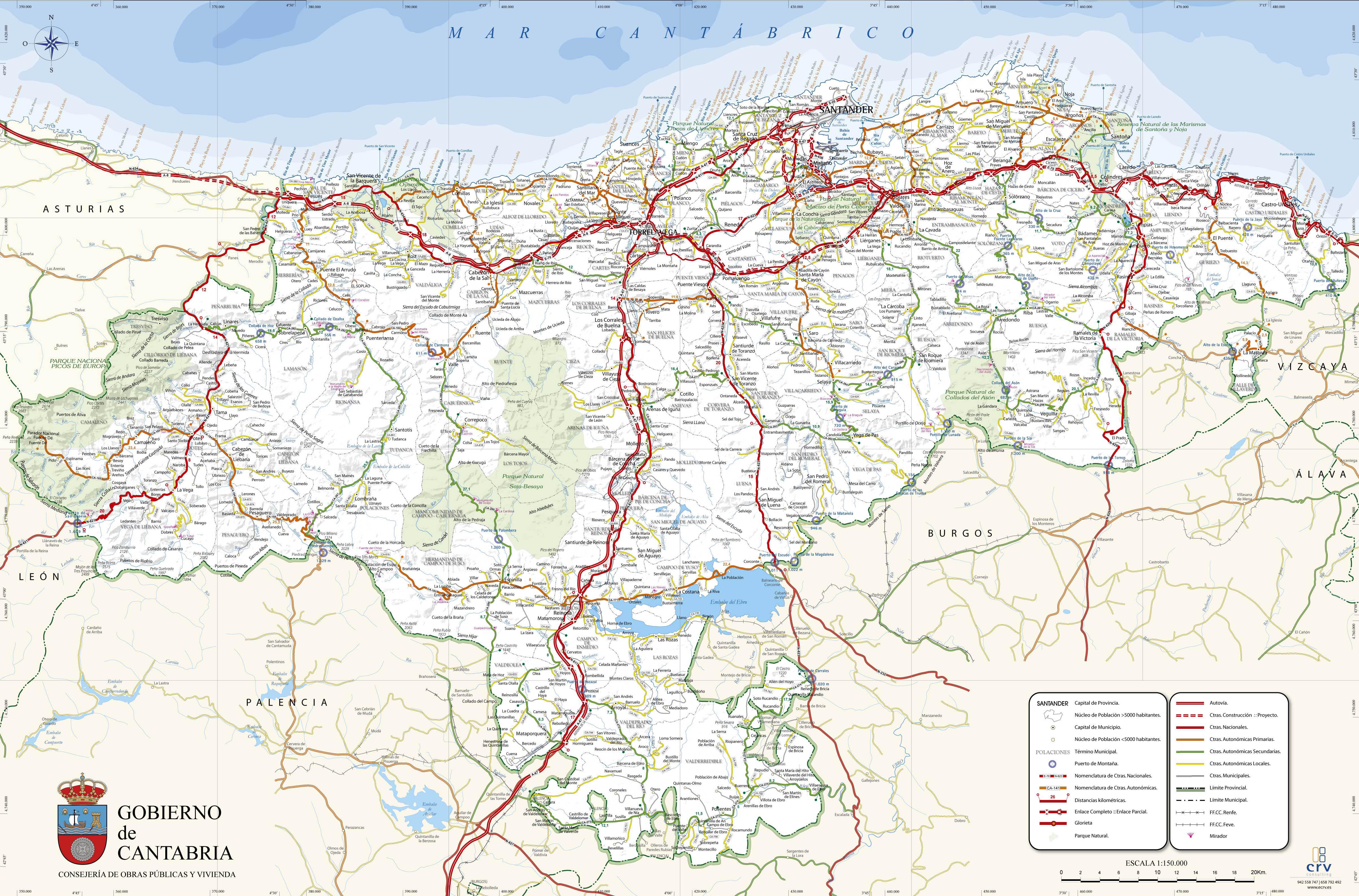 Archivo Mapa De Carreteras De Cantabria Jpg Wikivia