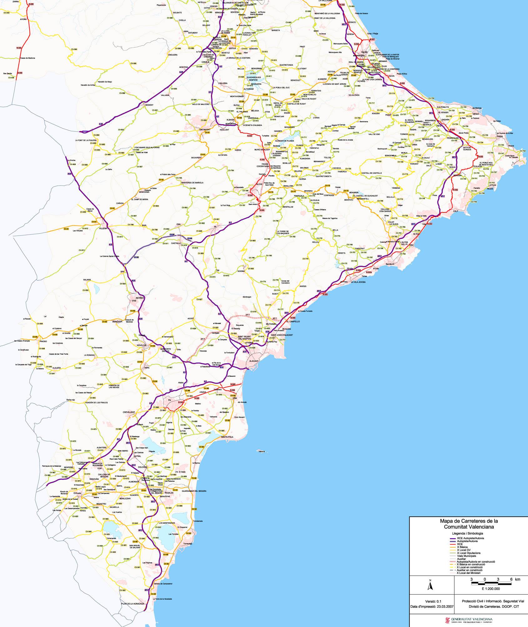Mapa Carreteras Provincia Alicante.Archivo Mapa De Carreteras De Alicante Jpg Wikivia
