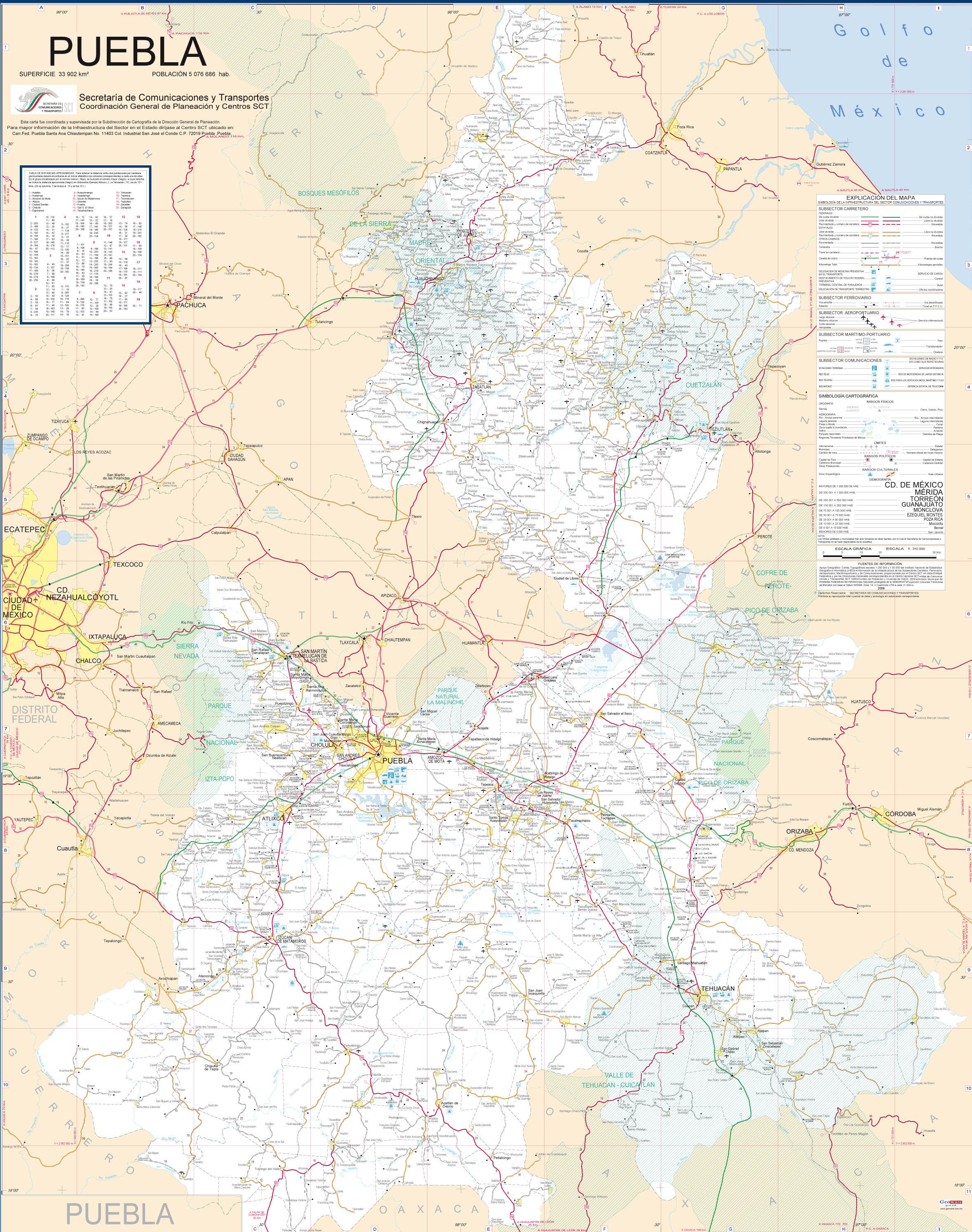 Carreteras De Puebla Mapa