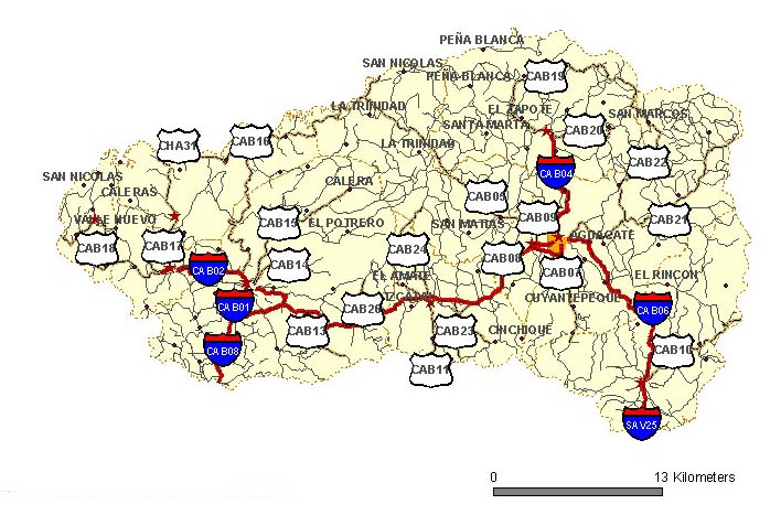 cabanas mapa Mapa de carreteras de Cabañas   Wikivia cabanas mapa